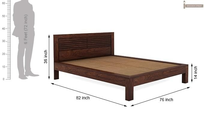 Gayle Bed Without Storage (King Size, Walnut Finish)-7