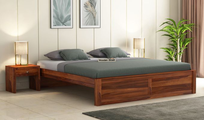 Hayden Bed Without Storage (Queen Size, Honey Finish)-1