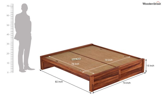 Hayden Bed Without Storage (King Size, Honey Finish)-7