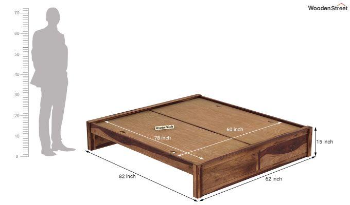 Hayden Bed Without Storage (Queen Size, Teak Finish)-7