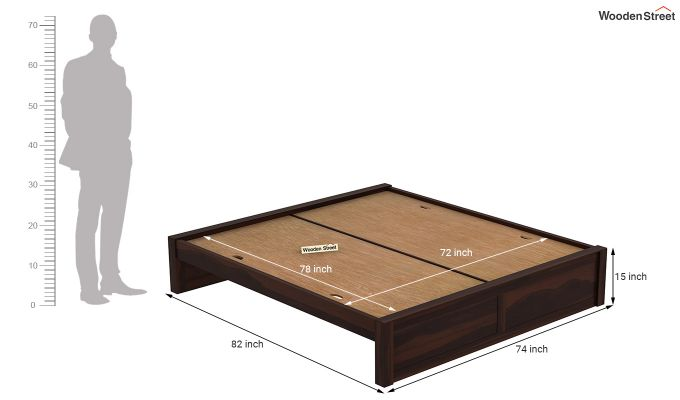 Hayden Bed Without Storage (King Size, Walnut Finish)-7