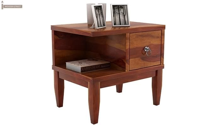 Helix Bedside Table (Honey Finish)-4