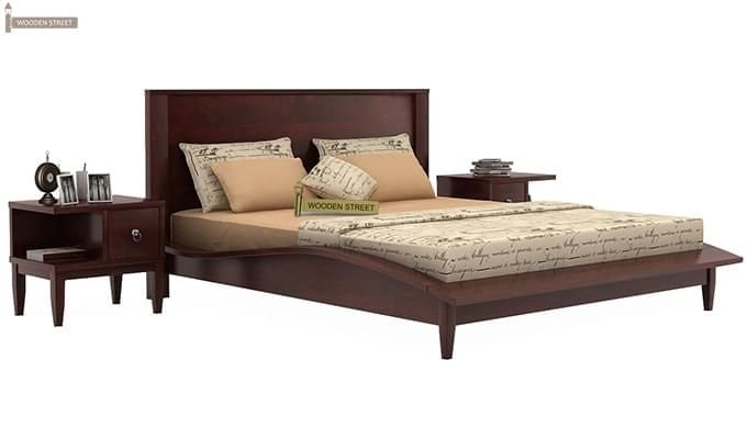 Helix Bed (Queen Size, Mahogany Finish)-1