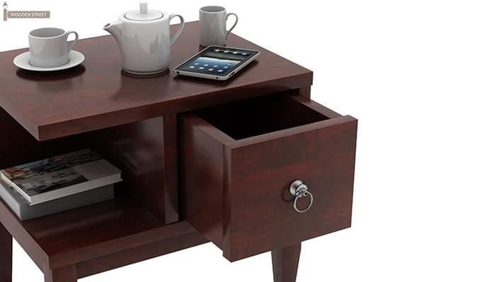 Helix Bedside Table (Mahogany Finish)-3