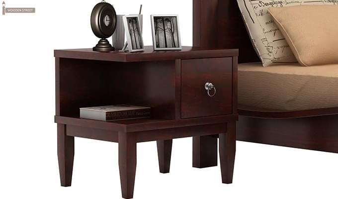 Helix Bedside Table (Mahogany Finish)-2