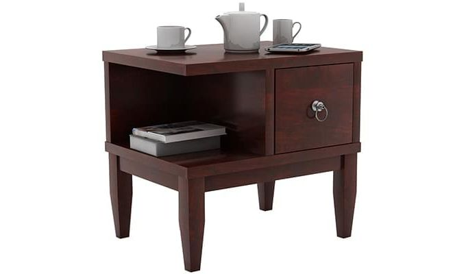 Helix Bedside Table (Mahogany Finish)-1