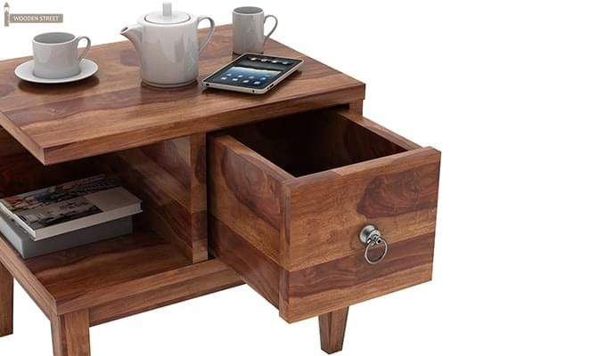 Helix Bedside Table (Teak Finish)-2