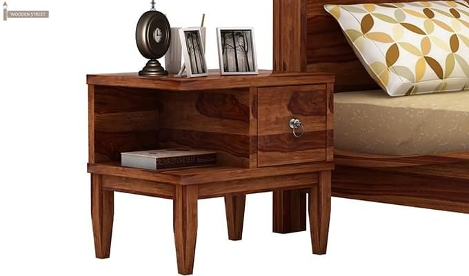 Helix Bedside Table (Teak Finish)-1