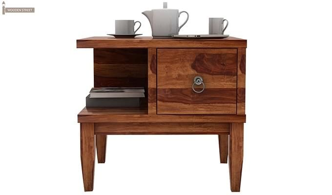 Helix Bedside Table (Teak Finish)-5