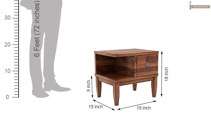 Helix Bedside Table (Teak Finish)-6