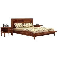 Helix Bed (Queen Size, Teak Finish)