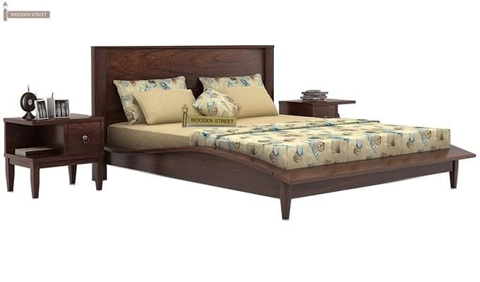 Helix Bed (Queen Size, Walnut Finish)-1