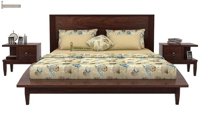 Helix Bed (Queen Size, Walnut Finish)-2