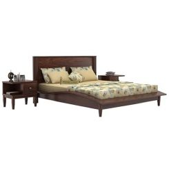 Helix Bed (Queen Size, Walnut Finish)