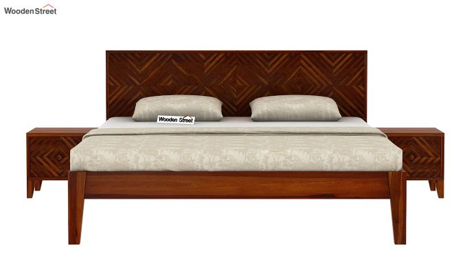 Horton Bed Without Storage (Queen Size, Honey Finish)-3