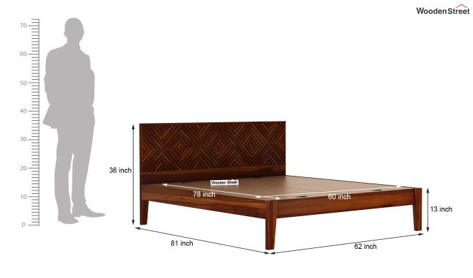 Horton Bed Without Storage (Queen Size, Honey Finish)-7