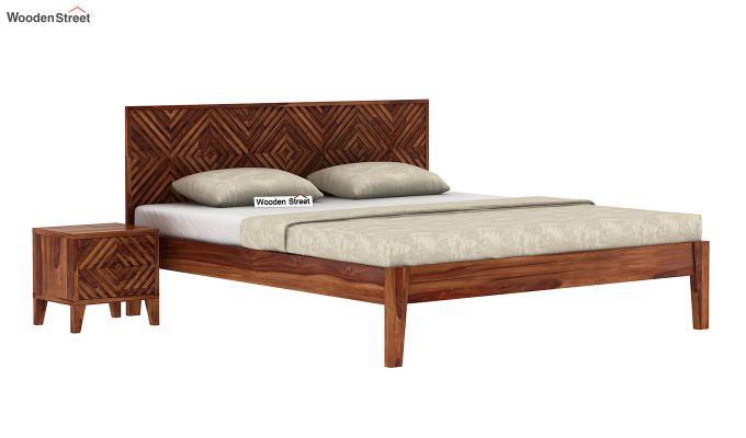 Horton Bed Without Storage (King Size, Teak Finish)-2