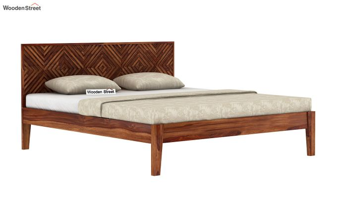Horton Bed Without Storage (Queen Size, Teak Finish)-4
