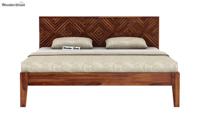 Horton Bed Without Storage (Queen Size, Teak Finish)-5