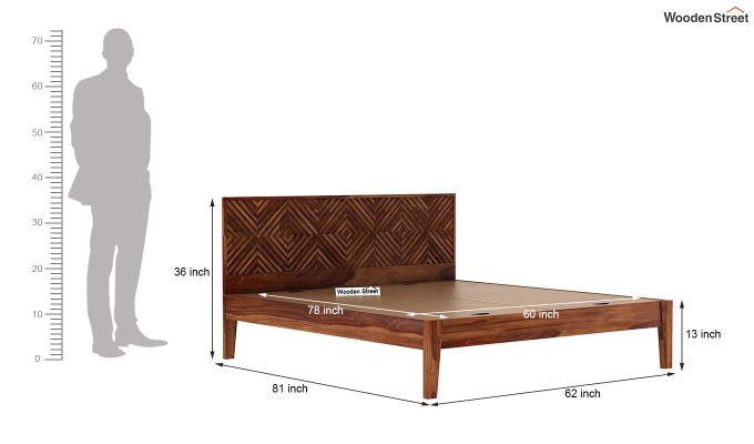 Horton Bed Without Storage (Queen Size, Teak Finish)-7