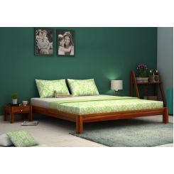 Hout Bed Without Storage (King Size, Honey Finish)