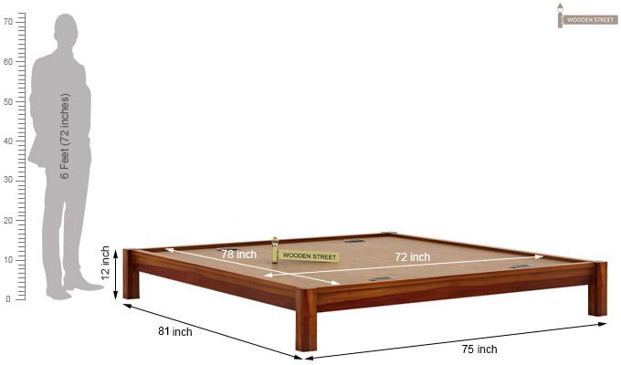 Hout Bed Without Storage (King Size, Honey Finish)-6