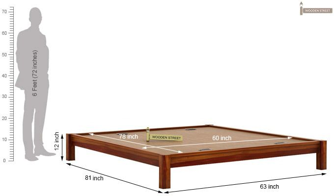 Hout Bed Without Storage (Queen Size, Honey Finish)-6