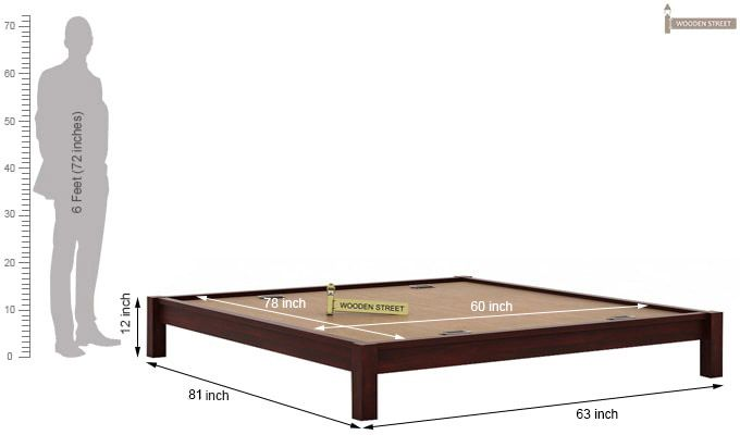 Hout Bed Without Storage (Queen Size, Mahogany Finish)-5