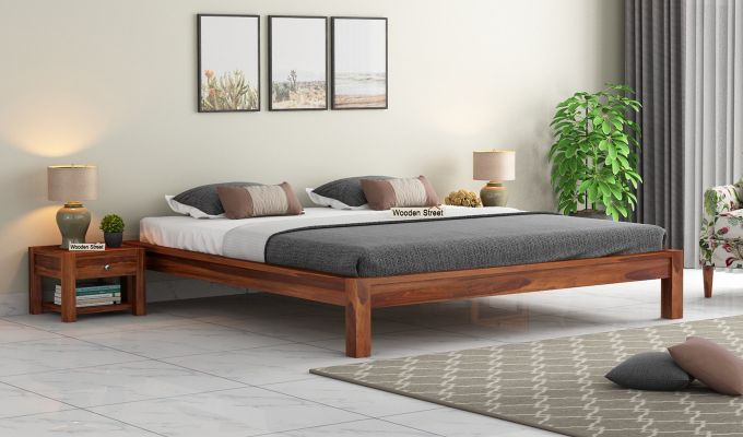 Hout Bed Without Storage (Queen Size, Honey Finish)-1