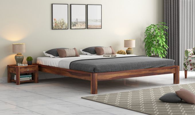 Hout Bed Without Storage (Queen Size, Teak Finish)-1