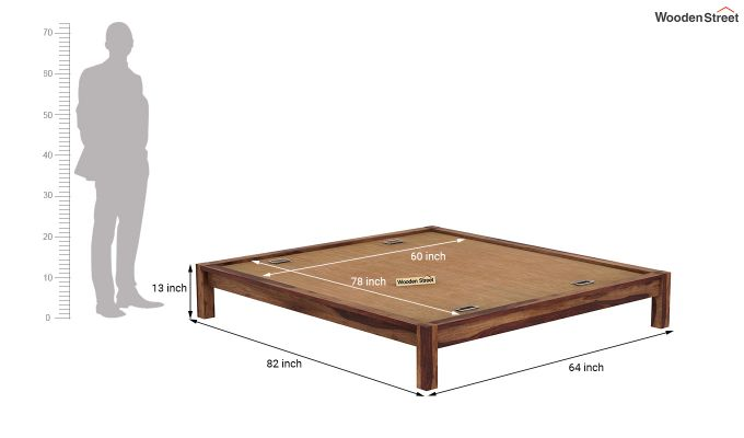 Hout Bed Without Storage (Queen Size, Teak Finish)-7