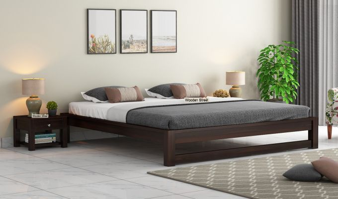 Hout Bed Without Storage (Queen Size, Walnut Finish)-1