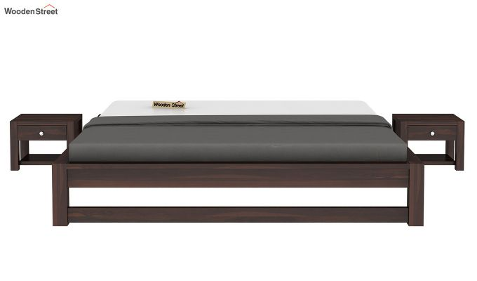 Hout Bed Without Storage (Queen Size, Walnut Finish)-3