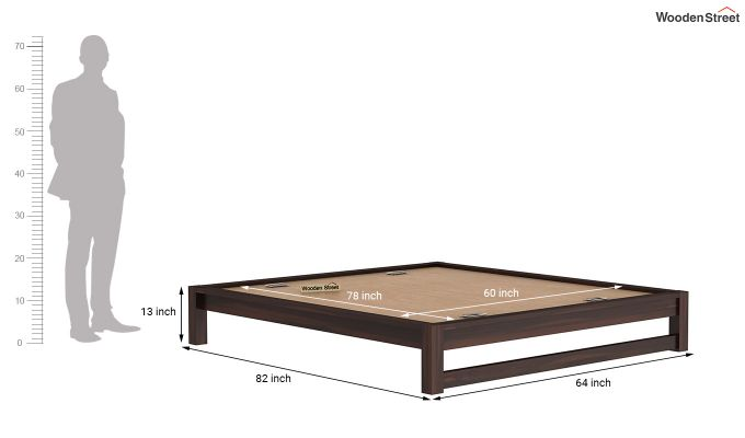 Hout Bed Without Storage (Queen Size, Walnut Finish)-7