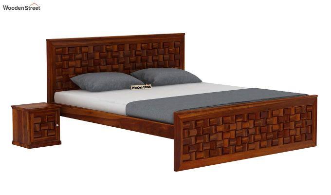 Howler Bed without Storage (King Size, Honey Finish)-2