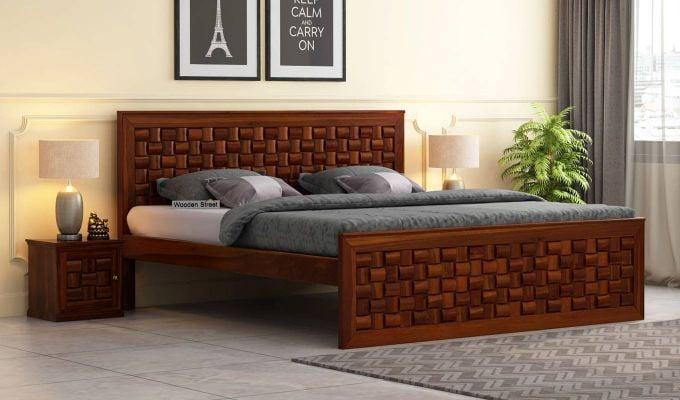 Howler Bed without Storage (King Size, Honey Finish)-1