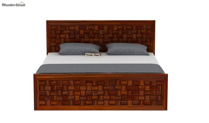 Howler Bed without Storage (King Size, Honey Finish)-5
