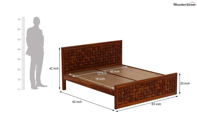 Howler Bed without Storage (Queen Size, Honey Finish)-7