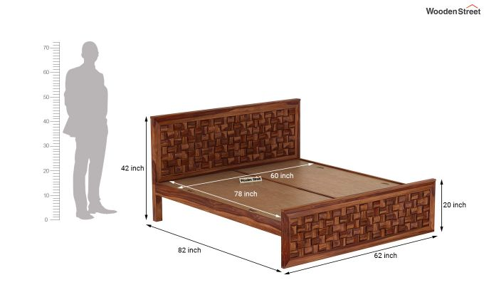 Howler Bed without Storage (Queen Size, Teak Finish)-7