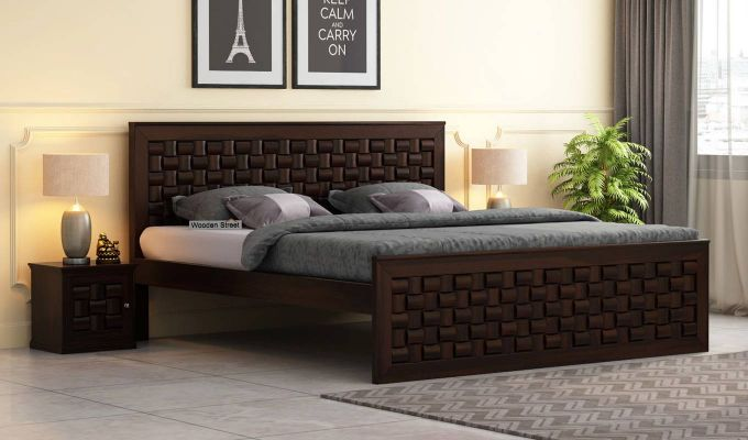 Howler Bed without Storage (Queen Size, Walnut Finish)-1