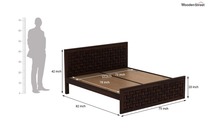 Howler Bed without Storage (King Size, Walnut Finish)-7