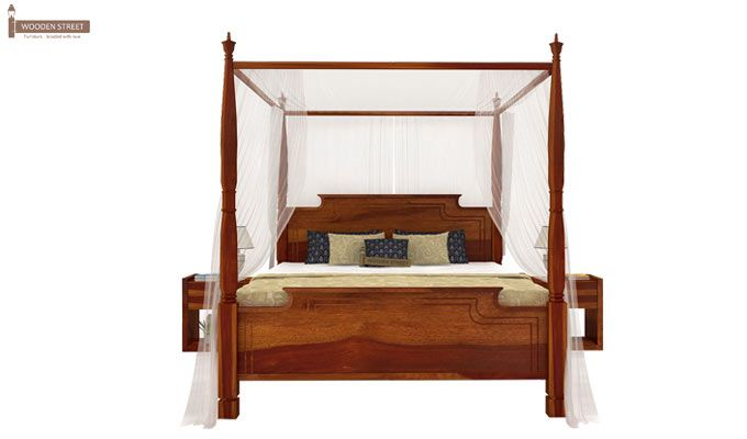 Isabel Poster Double Bed (King Size, Honey Finish)-2