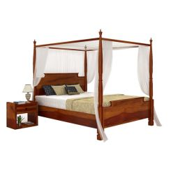 Isabel Poster Double Bed (King Size, Honey Finish)