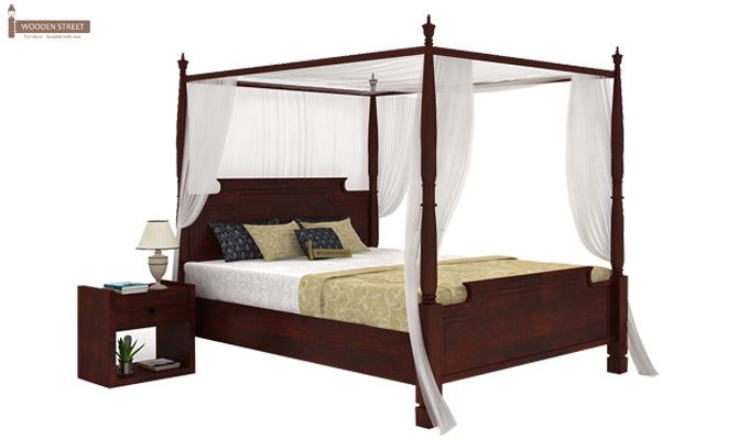 Isabel Poster Double Bed (Queen Size, Mahogany Finish)-1