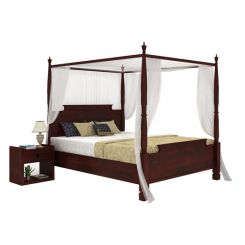 Isabel Poster Double Bed (King Size, Mahogany Finish)