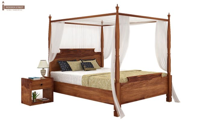 Isabel Poster Double Bed (King Size, Teak Finish)-1