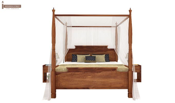 Isabel Poster Double Bed (King Size, Teak Finish)-2