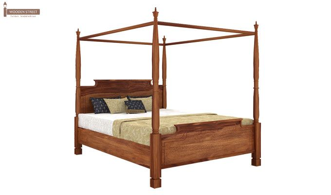 Isabel Poster Double Bed (King Size, Teak Finish)-3
