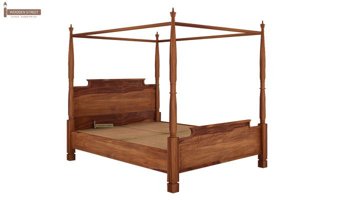 Isabel Poster Double Bed (King Size, Teak Finish)-4