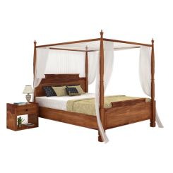 Isabel Poster Double Bed (King Size, Teak Finish)
